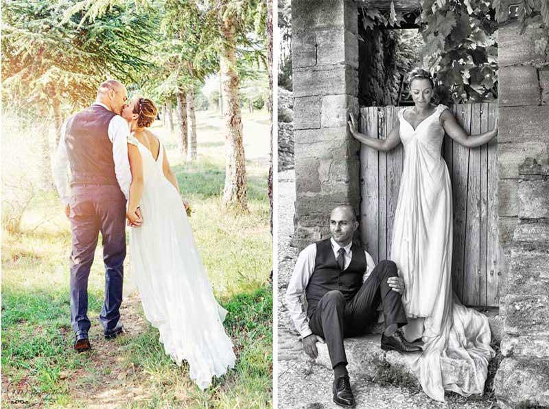 Image de couple noir et blanc et couleurs