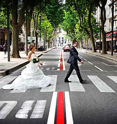 mariés dans la rue